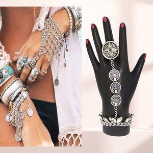 Silver & Crystal Ring Slave Bracelet NEW